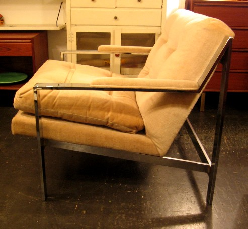 Milo Baughman Chrome Frame Club Chair