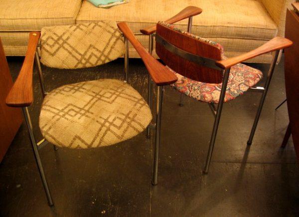 Pivot Back Chrome and Teak Arm Chairs