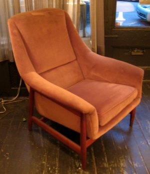 Teak Framed Upholstered Club Chair by Dux