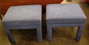 Pair of Upholstered Parsons Style Benches