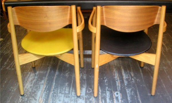 Bent Teak and Oak Dining Armchairs by Jens Risom