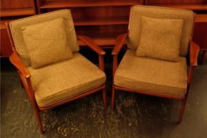 Pair of Walnut Framed Club Chairs from Denmark