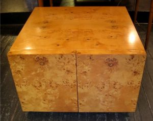 Burlwood Storage Cube / Side Table attr. Milo Baughman