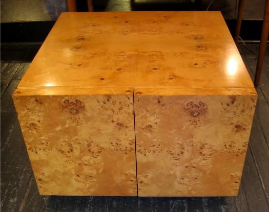 Burlwood Storage Cube / Side Table attr. Milo Baughman