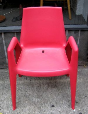 Set of Four Red Arco Bellini Chairs