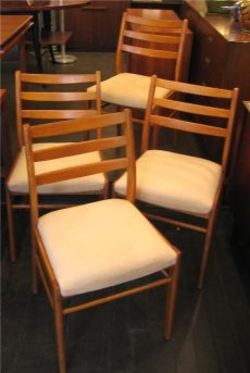Set of Four Beech Dining Side Chairs from Denmark