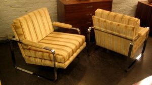 Pair of Upholstered Chrome Club Chairs after Baughman