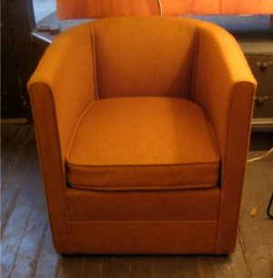 Pair of 1950s Upholstered Barrel Back Chairs