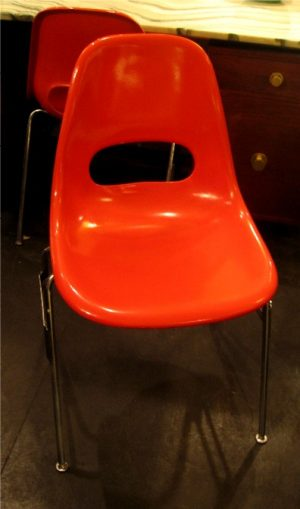 Pair of Orange Shell Chairs by Kruger