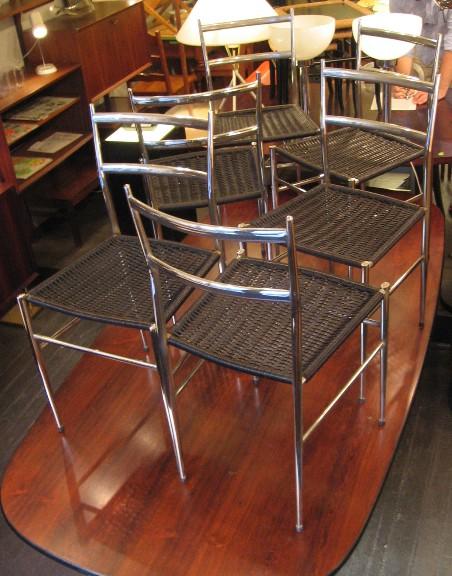 Six Chrome Superleggera Gio Ponti Style Chairs