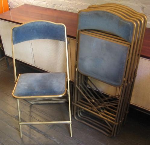 Set of Six Folding Metal Chairs