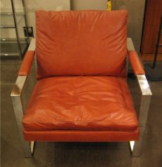 Milo Baughman Chrome and Upholstered Club Chair