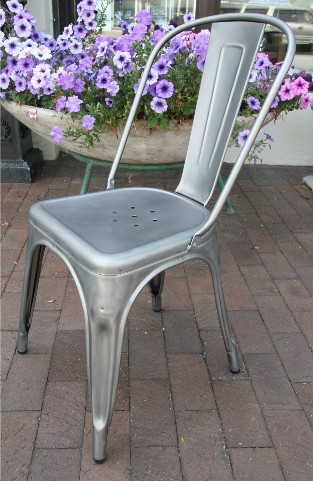 Set of Four Tolix Galvanized Steel Stacking Chairs