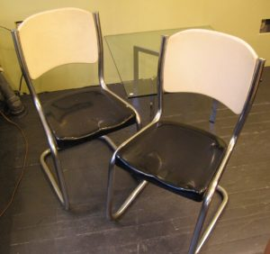 Pair of 1950's Chrome and Moulded Metal Chairs
