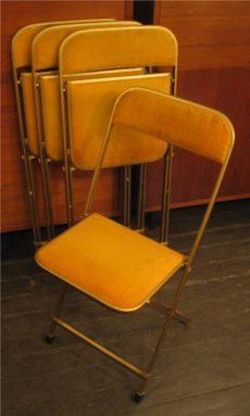 Set of Four Folding Metal Chairs Upholstered in Velvet