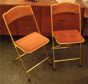 Pair of Metal and Velvet Folding Chairs