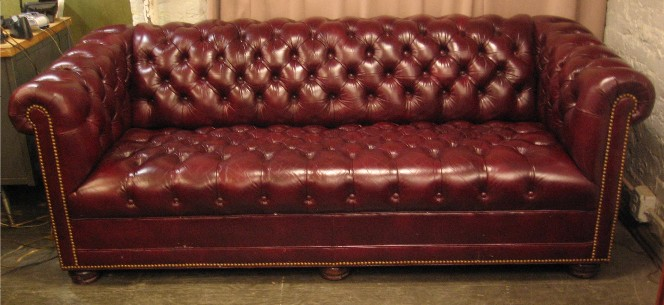 Oxblood Leather Chesterfield Sofa By