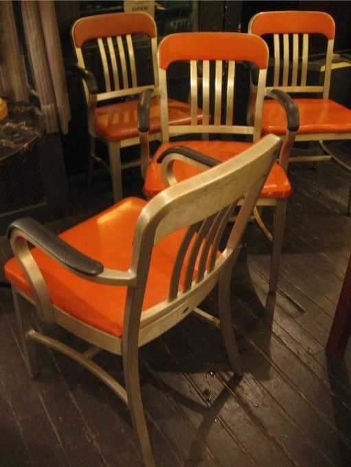 Set of Four Goodform Arm Chairs in Orange