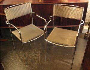 Pair of Chrome Spaghetti Arm Chairs by Alias Italy