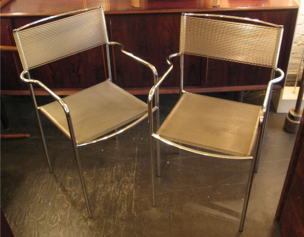 Pair of Chrome Spaghetti Arm Chairs by Alias Italy