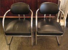 Pair of Chrome & Leather Chairs in the style of KEM Weber