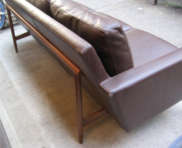 Jens Risom Style Leather Sofa by Design Within Reach