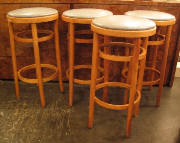 Set of Four Thonet Bent Wood Stools in Oak