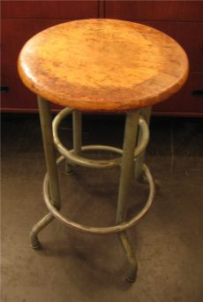 Well Worn Maple and Metal School Room Stool