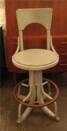 Large Old Painted Adjustable Thonet Stool with Back