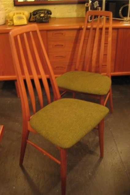 Pair of Sculpted Slat Back Teak Chairs