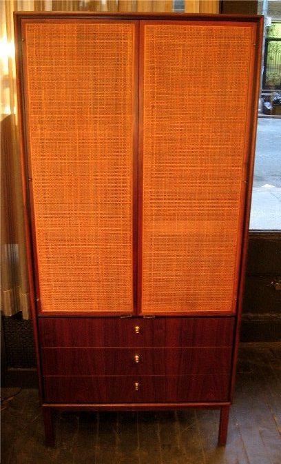 Cane Doored Vertical Walnut Storage Cabinet