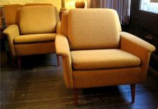 Pair of Upholstered Club Chairs by Dux