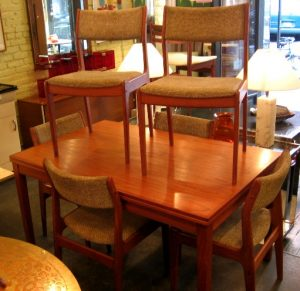 Six Teak Dining Side Chairs