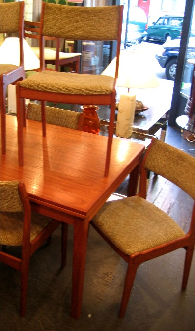 Six Teak Dining Side Chairs