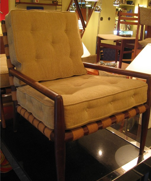 T. H. Robsjohn Gibbings Webbed Armchair with Ottoman