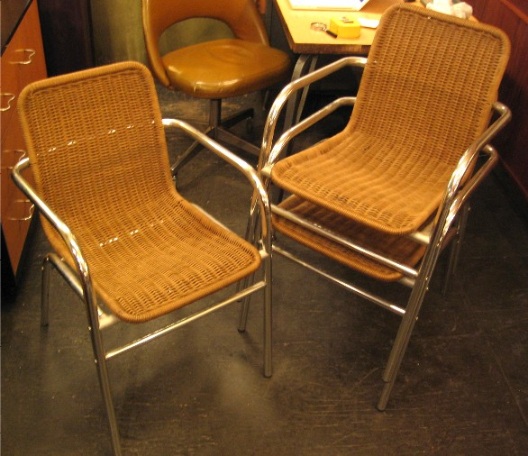 Set of Three Stacking Caned Aluminum Chairs