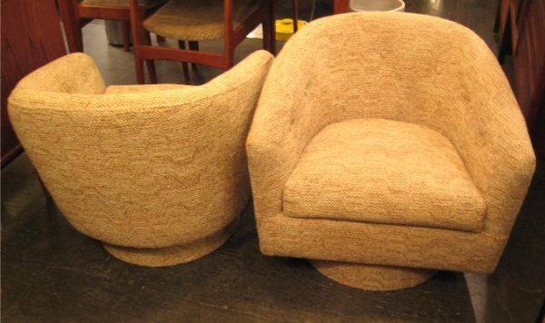 Pair of Swiveling Barrel Chairs