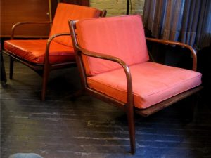 Pair of Walnut Framed Club Chairs