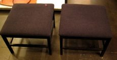Pair of Black Lacquered Upholstered Stools