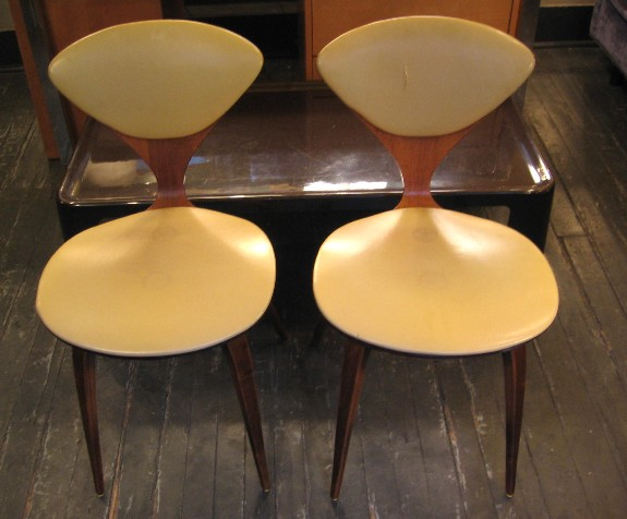 Pair of Cherner Upholstered Side Chairs by Plycraft