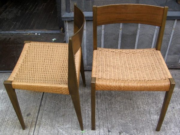 Pair of Rope Seat Danish Side Chairs