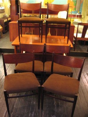 Set of Six Palisander and Teak Dining Chairs