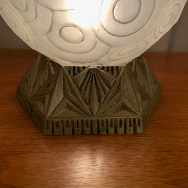 Faceted French Deco Orb Table Lamp by Degue