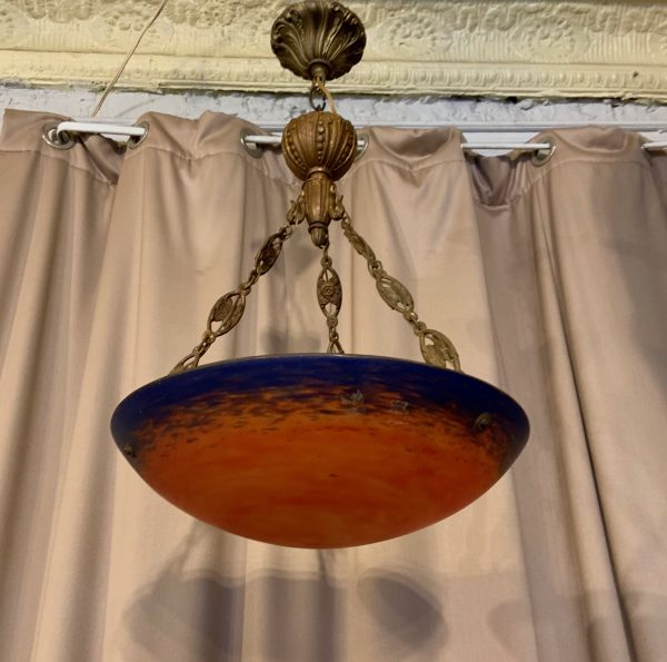 French Deco Chandelier by Muller Frères Luneville, 1920s