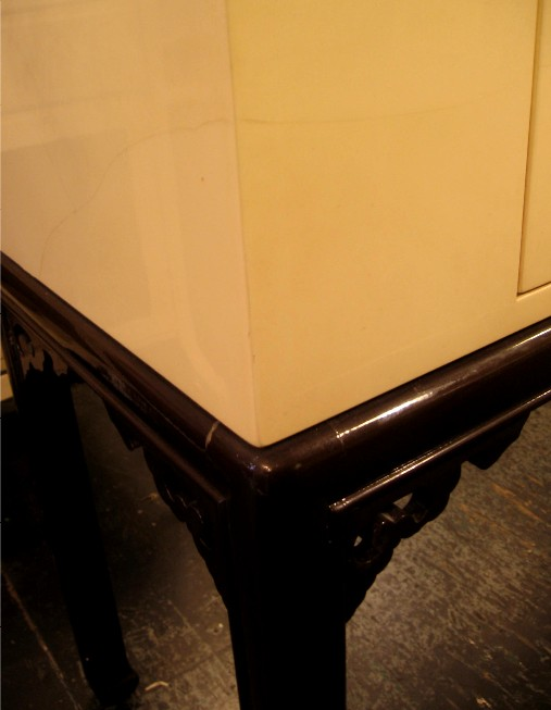 Faux Lacquered Goat Skin Console Cabinet