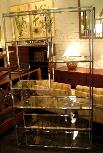 Design Institute of America Chrome and Glass Etagere