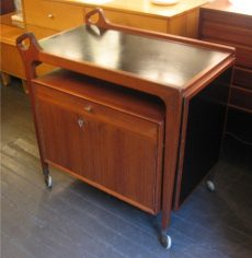 Drop Leaf Teak Bar Cart with Drawer and Cabinet