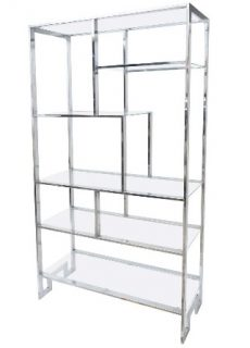 Design Institute of America Chrome and Glass Etagere
