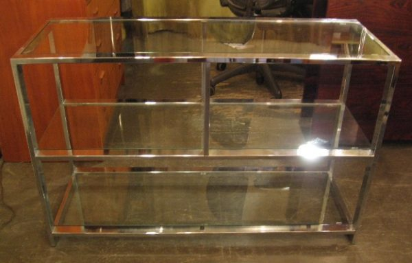 Design Institute of America Chrome & Glass Low Etagere