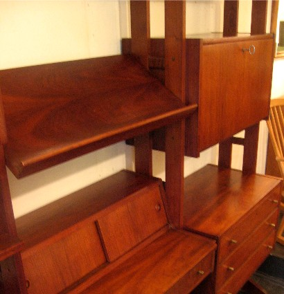 Freestanding Black Walnut Wall Unit